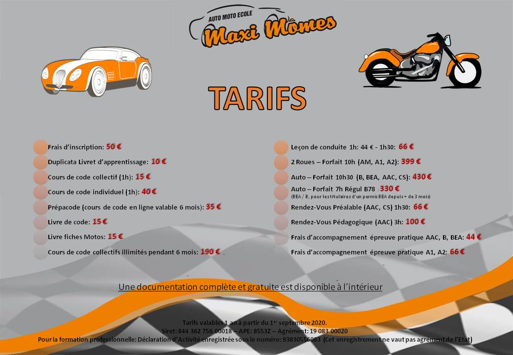 tarifs auto ecole